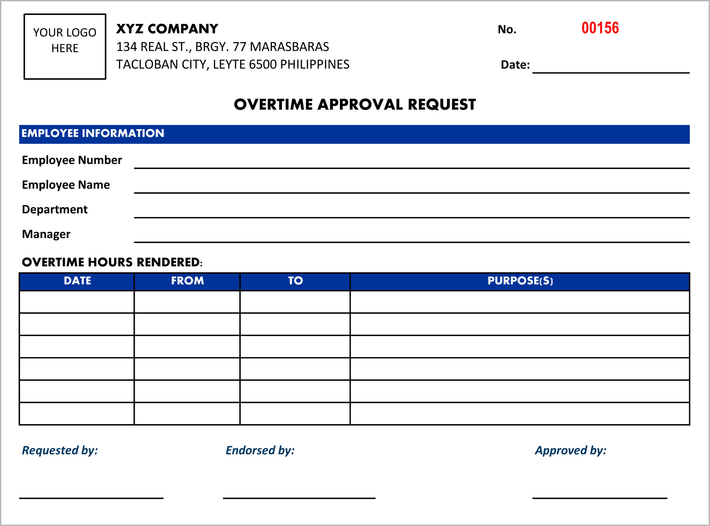 Overtime Request Form | Overtime Request Form Qrpho Online Attendance Tracking System